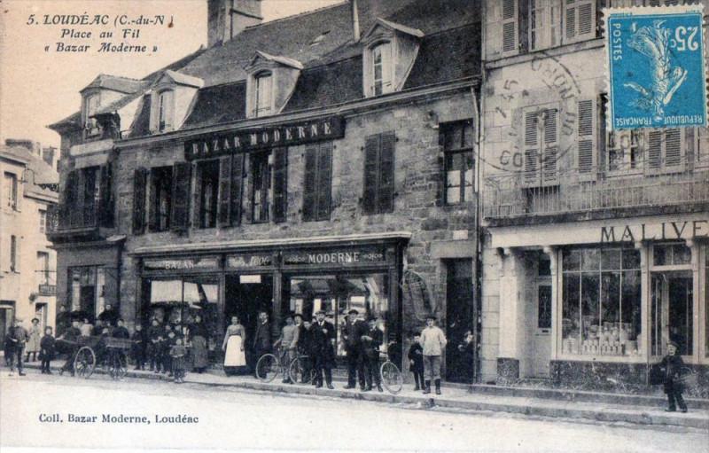 Carte postale ancienne Loudeac Place Au Fil Bazar Moderne (Cpa De Commerce Magasin à Loudéac