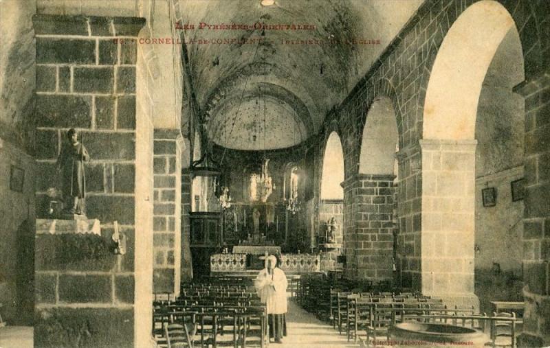 Carte postale ancienne Corneilla De Conflent Interieur De L´EGLISE  (Frais de port gratuit à Corneilla-de-Conflent