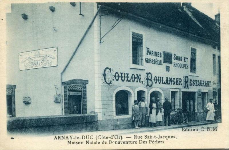 Carte postale ancienne Arnay Le Duc Rue Saint Jacques Coulon Boulanger (pas courante à Arnay-le-Duc