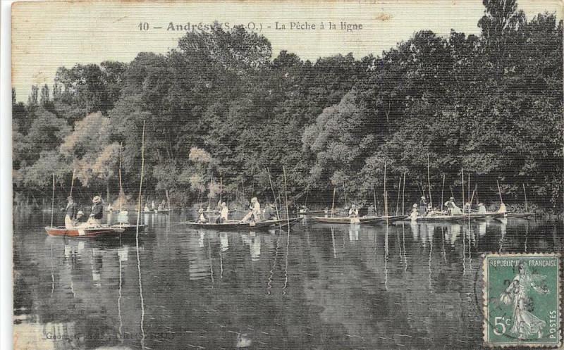 Carte postale ancienne Andresy La Peche A La Ligne (cpa toilée émaillée à Andrésy