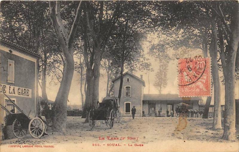 Carte postale ancienne Soual La Gare à Soual