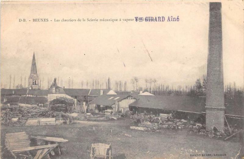 Carte postale ancienne Beuxes Les Chantiers De La Scierie Mecanique A Vapeur Mme Veuve Girard Ai à Beuxes