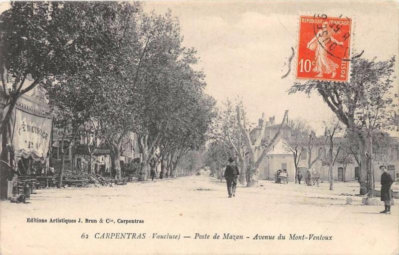 Carte postale ancienne Carpentras Poste De Mazan Avenue Du Mont Ventoux (cliché pas courant à Carpentras