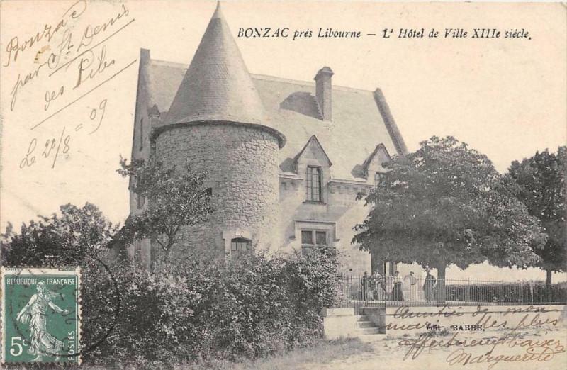 Carte postale ancienne Bonzac Pres Libourne L'Hotel De Ville (cliché pas courant à Bonzac
