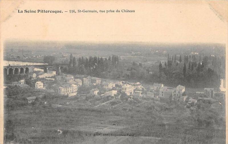 Carte postale ancienne La Seine Pittoresque Saint Germain Vue Prise Du Chateau