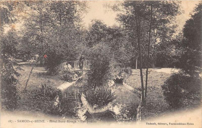 Carte postale ancienne Samois Hotel Beau Rivage Jardins (dos non divisé)