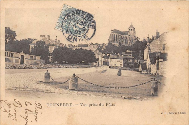 Carte postale ancienne Tonnerre Vue Prise Du Patis  (dos non divisé) à Tonnerre