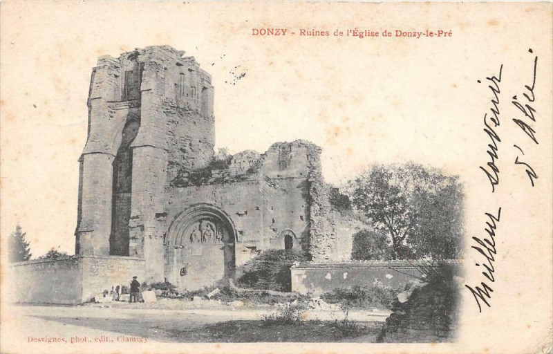Carte postale ancienne Donzy Ruines De L'Eglise De Donzy Le Pre (dos non divisé) à Donzy