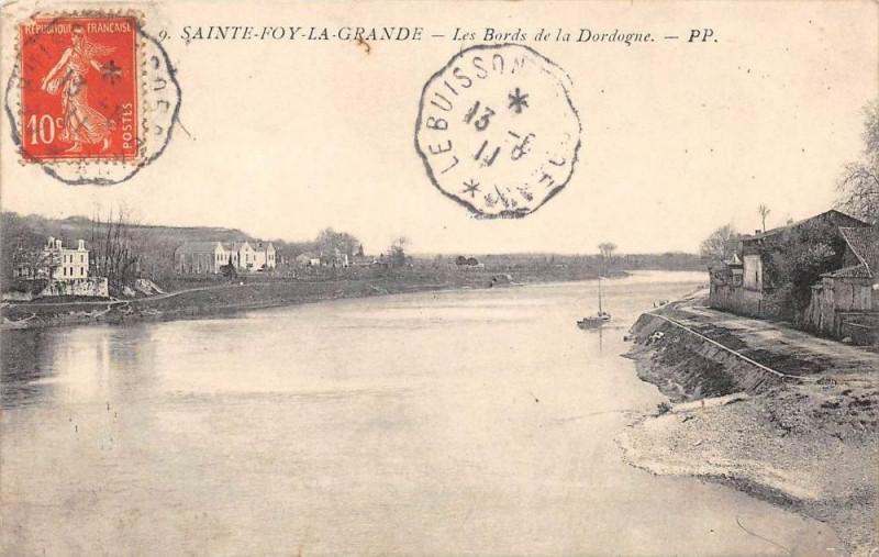 Carte postale ancienne Sainte Foy La Grande Les Bords De La Dordogne à Sainte-Foy-la-Grande