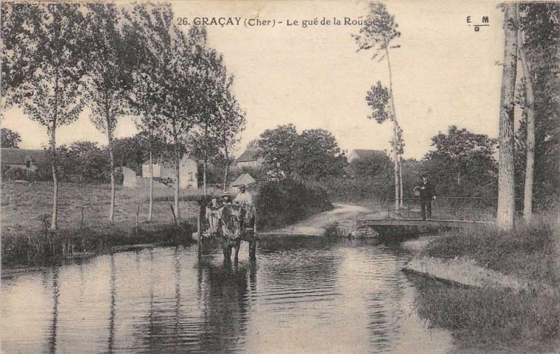 Carte postale ancienne Gracay Le Gue De La Rousse à Graçay