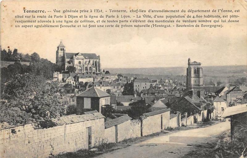 Carte postale ancienne Tonnerre Vue Generale Prise A L'Est à Tonnerre