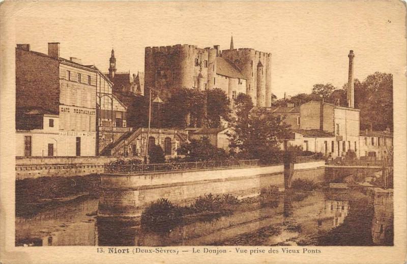 Carte postale ancienne Niort Le Donjon Vue Prise Des Vieux Ponts à Niort
