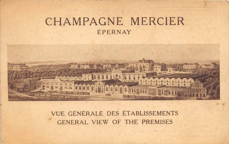 Carte postale ancienne Epernay Champagne Mercier Vue Generale Des Etablissements à Épernay