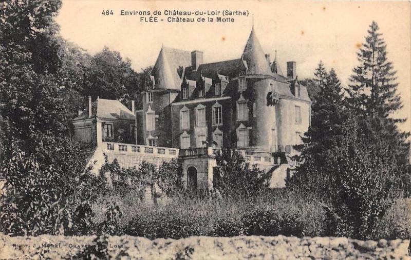 Carte postale ancienne Env.chateau Du Loir Flee Chateau De La Motte à Flée