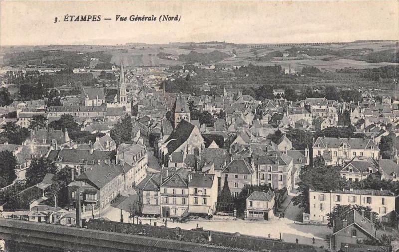 Carte postale ancienne Etampes Vue Generale Nord à Étampes