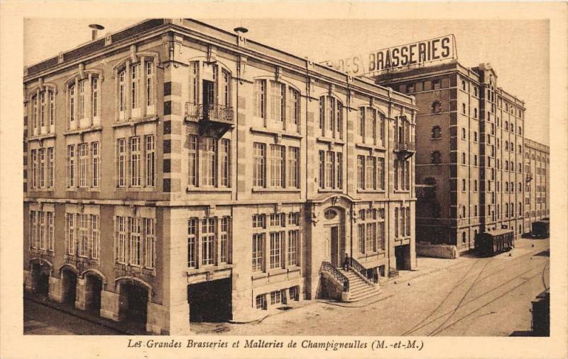 Carte postale ancienne Les Grandes Brasseries Et Malteries De Champigneulles à Champigneulles