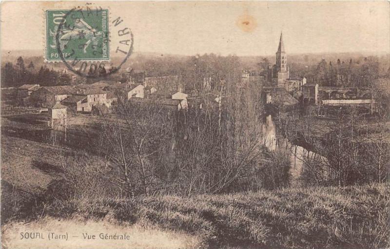 Carte postale ancienne Soual Vue Generale à Soual