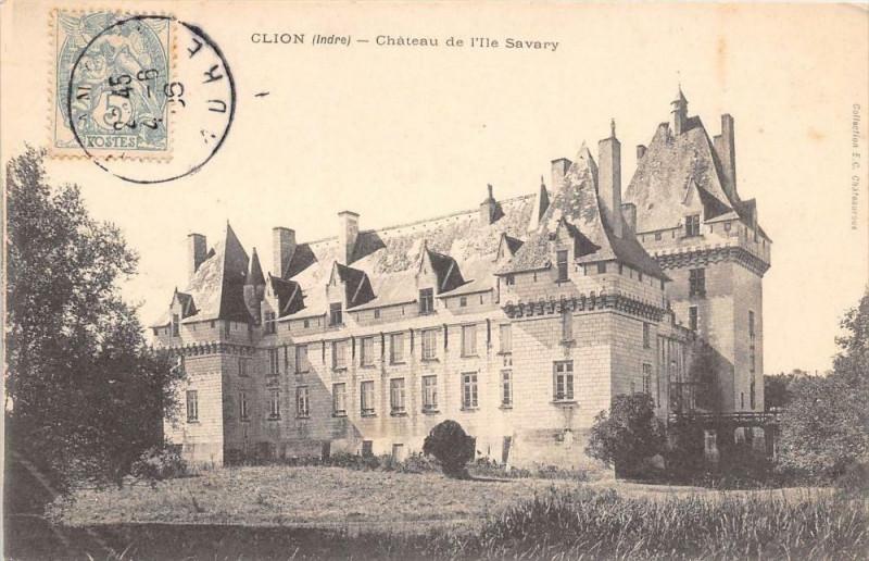 Carte postale ancienne Clion Chateau De L'Ile Savary à Clion