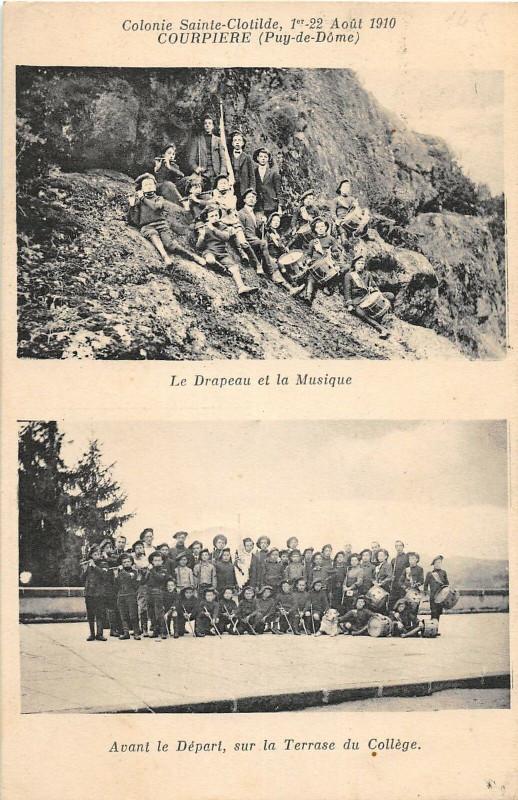 Carte postale ancienne Courpiere Colonie Ste Clotilde 1910 Le Drapeau Et La Musique à Courpière