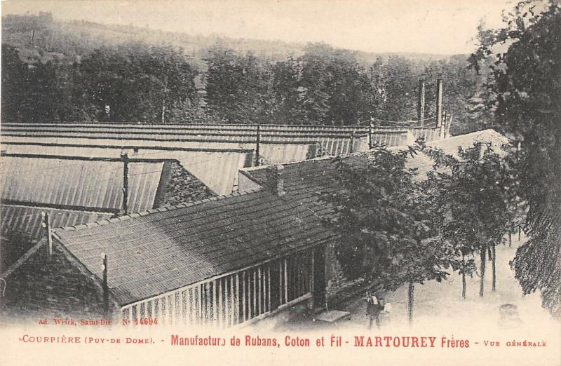 Carte postale ancienne Courpiere Manufacture De Rubans Martourey Vue Generale (cpa pas courante à Courpière