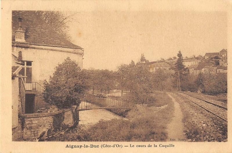 Carte postale ancienne Aignay Le Duc Le Cours De La Coquille à Aignay-le-Duc