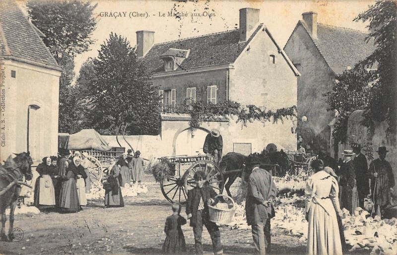 Carte postale ancienne Gracay Le Marche Aux Oies à Graçay
