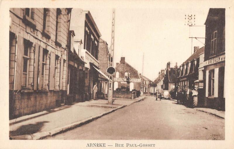 Carte postale ancienne Arneke Rue Paul Gosset à Arnèke