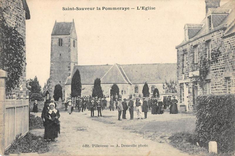 Carte postale ancienne Saint Sauveur La Pommeraye L'Eglise à Saint-Sauveur-la-Pommeraye