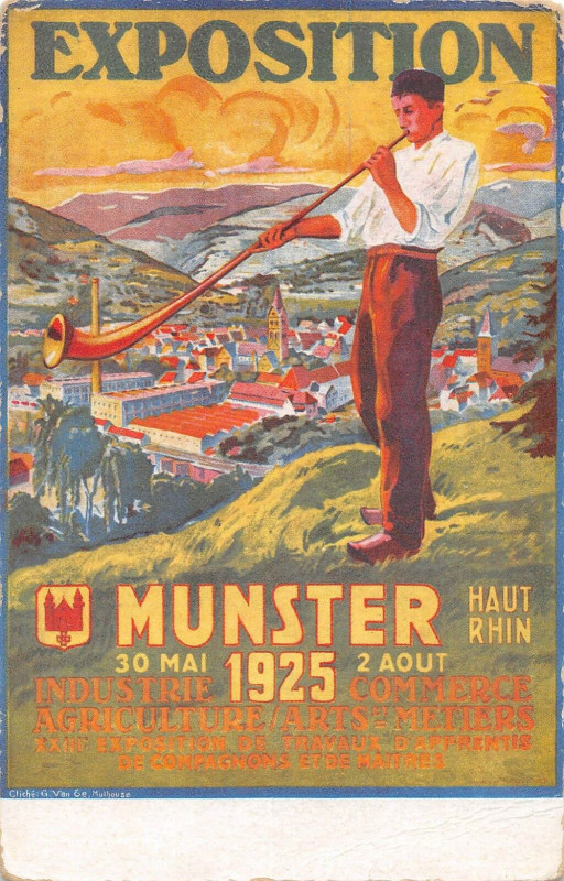 Carte postale ancienne Munster Cpa De L'Exposition Industrie Commerce Agriculture Illustrateur à Munster
