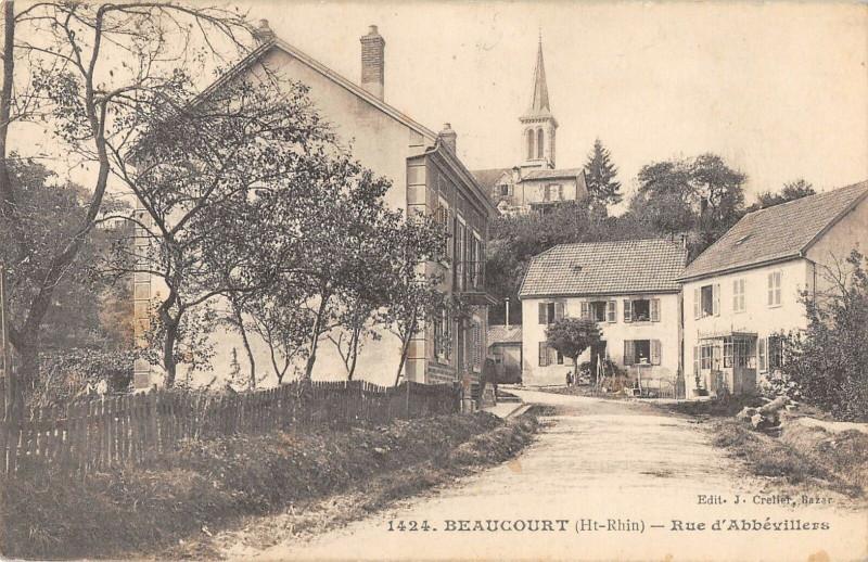 Carte postale ancienne Beaucourt Rue D'Abbevillers à Beaucourt