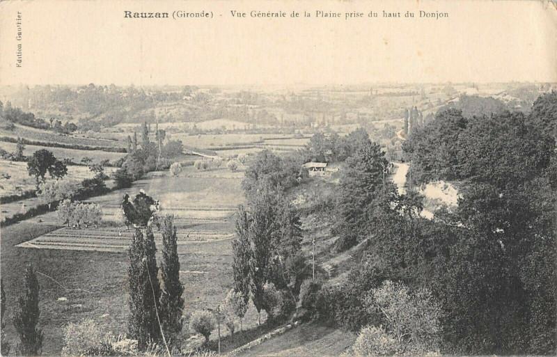 Carte postale ancienne Rauzan Vue Generale De La Plaine à Rauzan