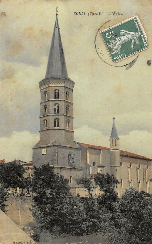 Carte postale ancienne Soual Eglise à Soual