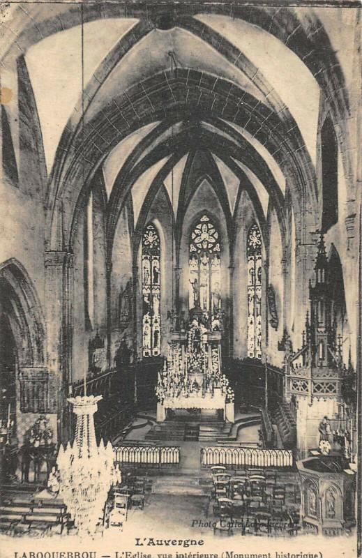 Carte postale ancienne Laroquebrou Eglise Vue Interieure à Laroquebrou