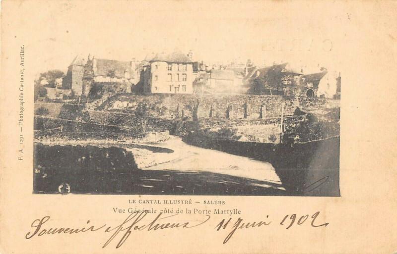 Carte postale ancienne Salers Vue Generale Cote De La Porte Martylle à Salers