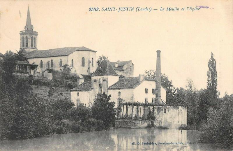Carte postale ancienne Saint Justin Le Moulin Et Eglise à Saint-Justin