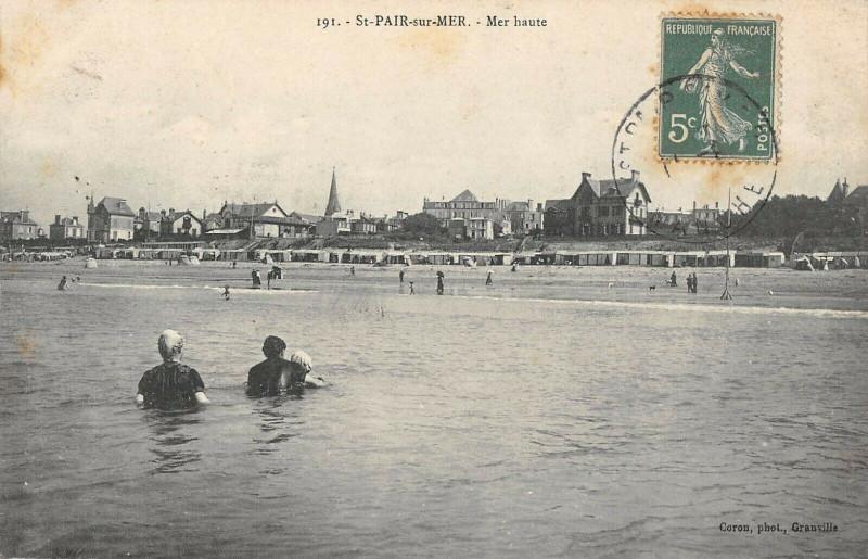Carte postale ancienne Saint Pair Sur Mer Mer Haute à Saint-Pair-sur-Mer