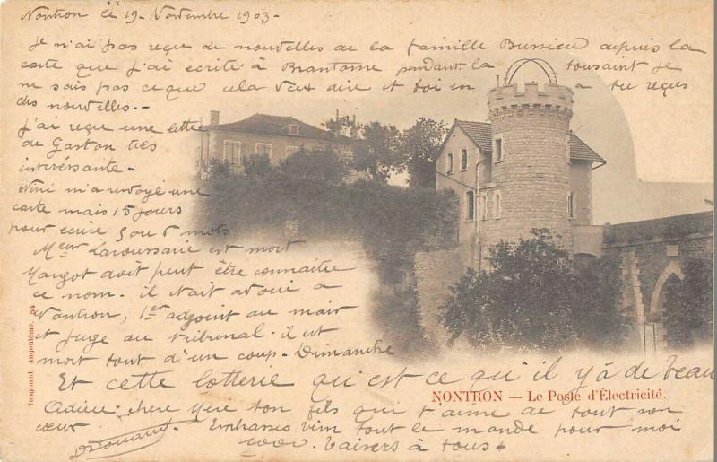Carte postale ancienne Nontron Le Poste D'Electricite (dos non divisé) à Nontron