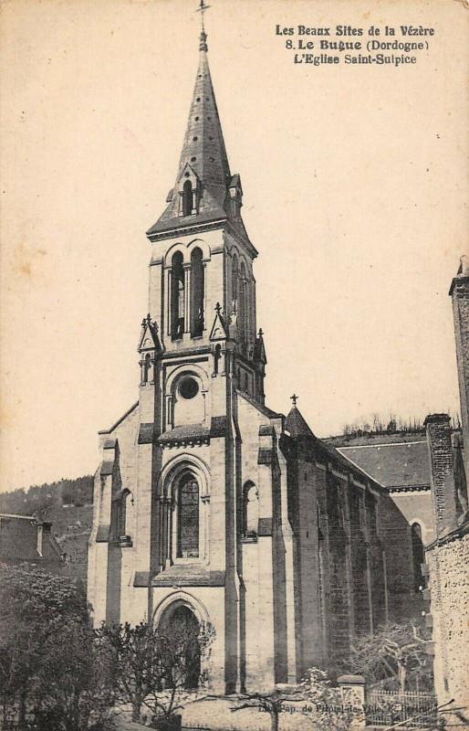 Carte postale ancienne Le Bugue Eglise Saint Sulpice au Bugue