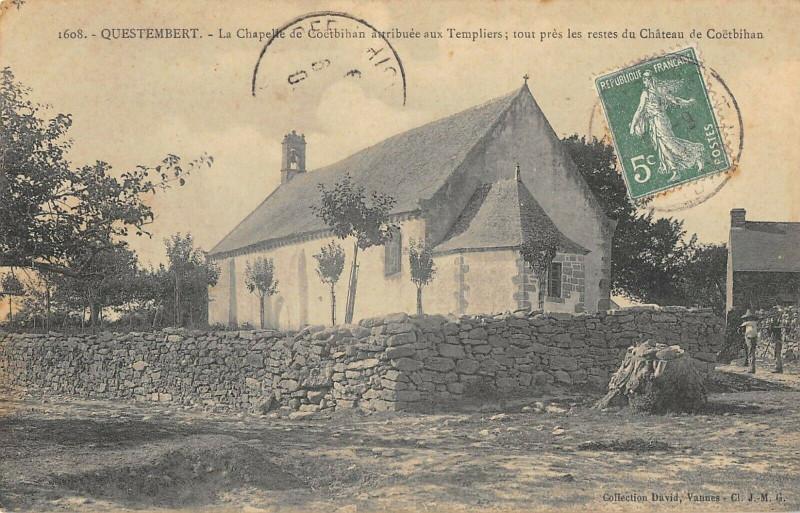 Carte postale ancienne Questembert La Chapelle De Coetbihan Attribuee Aux Templiers à Questembert