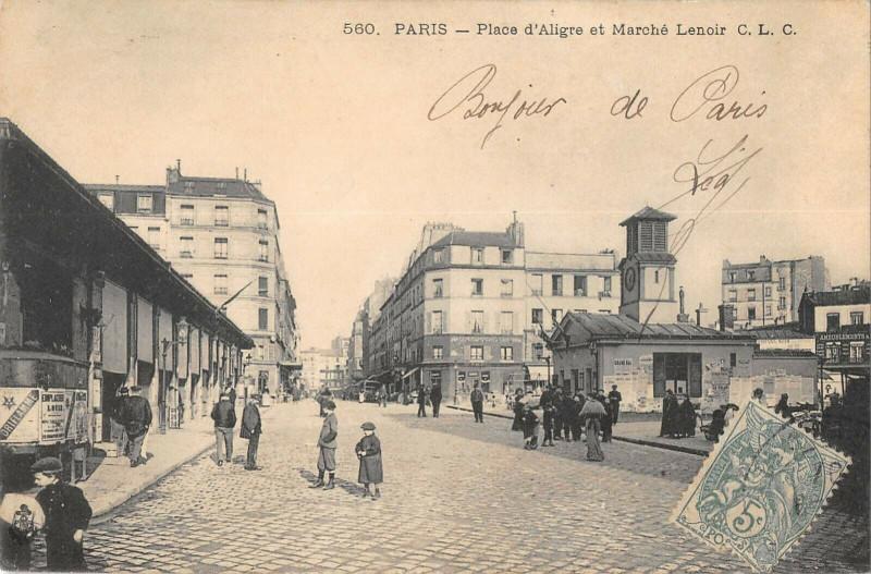 Carte postale ancienne Place d'Aligre et Marché Lenoir à Paris 12e