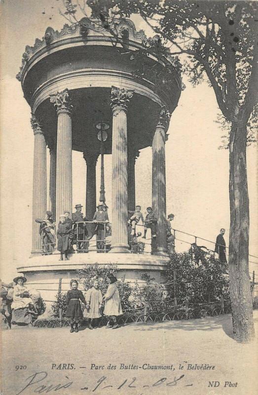 Carte postale ancienne Parc des Buttes-Chaumont, le Belvédère à Paris 19e