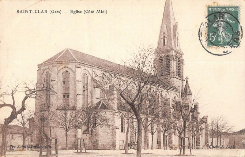 Carte postale ancienne Saint Clar Eglise Cote Midi à Saint-Clar