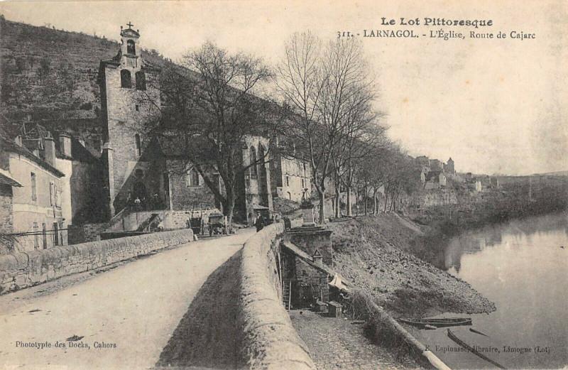 Carte postale ancienne Larnagol Eglise Route De Carjac à Larnagol