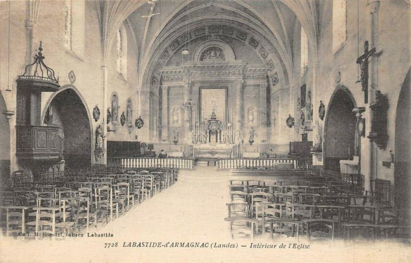 Carte postale ancienne Labastide D'Armagnac Interieur  L'Eglise à Labastide-d'Armagnac