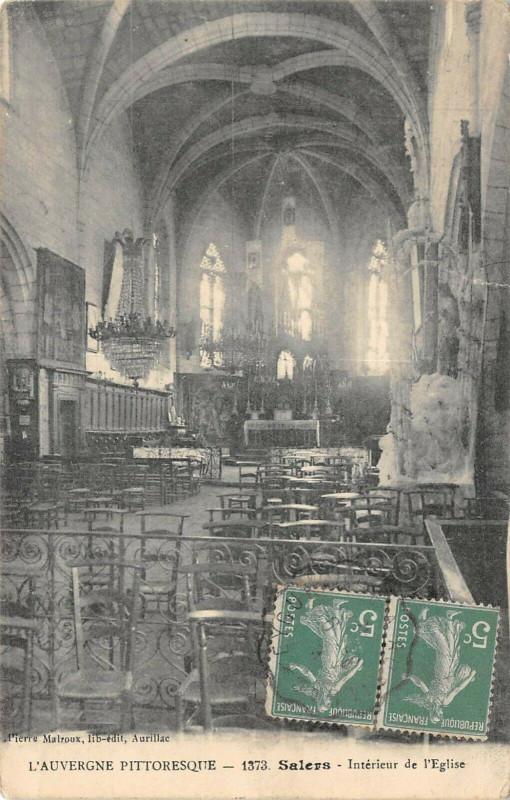 Carte postale ancienne Salers Interieur Eglise à Salers