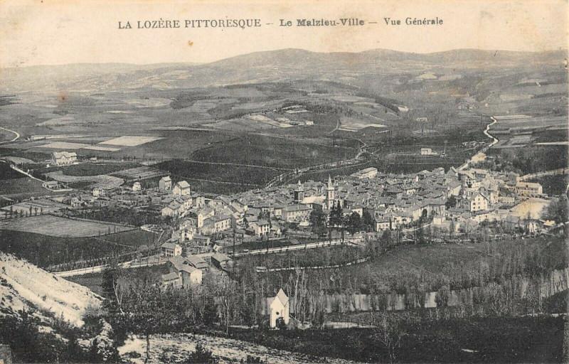 Carte postale ancienne Lozere Le Malzieu Ville Vue Generale au Malzieu-Ville