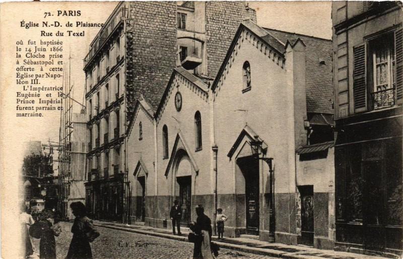 Carte postale ancienne Eglise Notre-Dame de Plaisance - Rue du Texel à Paris 14e