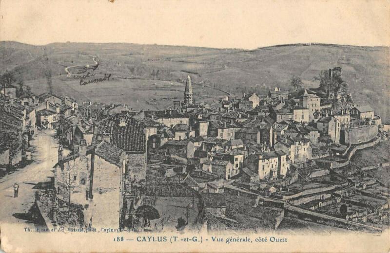 Carte postale ancienne Caylus Vue Generale Cote Ouest à Caylus