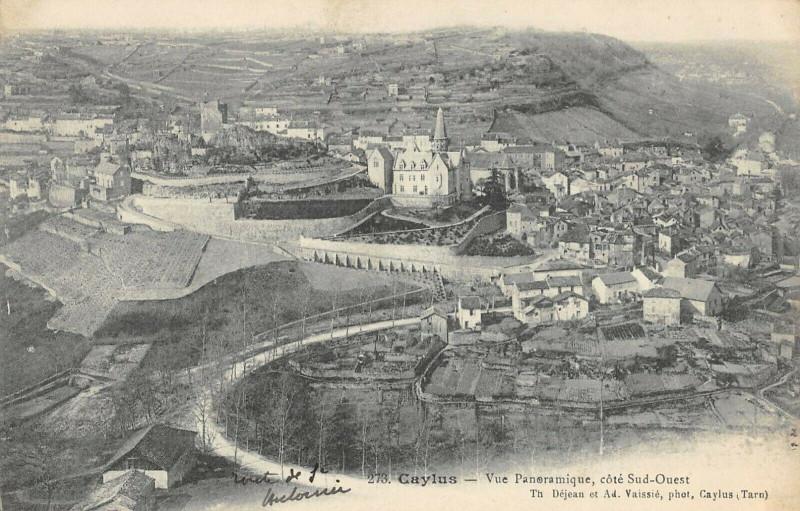 Carte postale ancienne Caylus Vue Panoramique Cote Sud Ouest à Caylus