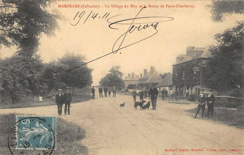 Carte postale ancienne Marolles Le Village Du May Et Route De Paris Cherbourg à Marolles